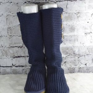 cfa84d1689d UGG Classic Cardy Blue Knit Sweater Boots